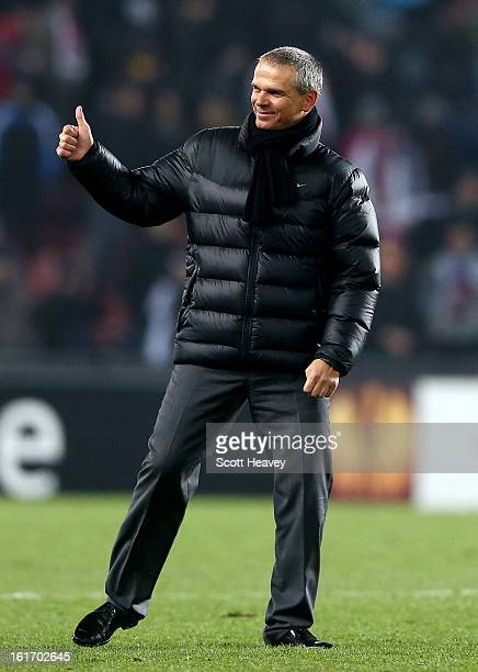 Sparta Praha manager Vitezslav Lavicka during the UEFA Europa League match between AC Sparta Praha and Chelsea on February 14 2013 in Prague Czech...