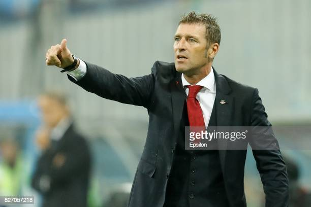 Spartak Moscow head coach Massimo Carrera reacts during the Russian Football League match between FC Zenit St Petersburg and FC Spartak Moscow at...