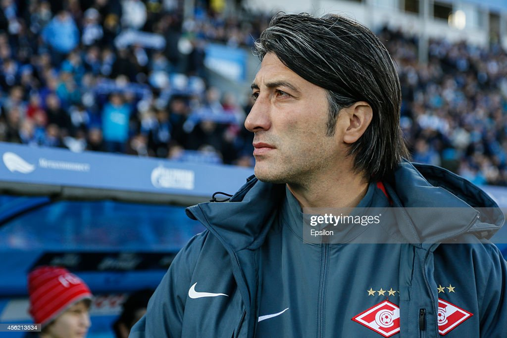 FC Spartak Moscow head coach <a gi-track='captionPersonalityLinkClicked' href=/galleries/search?phrase=Murat+Yakin&family=editorial&specificpeople=2383035 ng-click='$event.stopPropagation()'>Murat Yakin</a> looks on during the Russian Football League Championship match between FC Zenit St. Petersburg and FC Spartak Moscow at the Petrovsky stadium on September 27, 2014 in St. Petersburg, Russia.