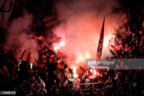 Spartak Moscow supporters show their support during the Russian Football League Championship match between FC Spartak Moscow and FC Kuban Krasnodar...