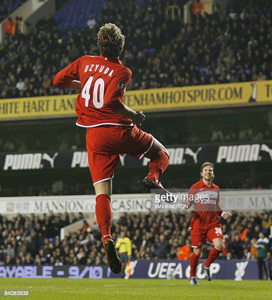 Spartak Moscow's Artem Dzuba celebrates after scoring his first goal against the Tottenham Hotspurs during a UEFA Cup Group D match at White Hart...