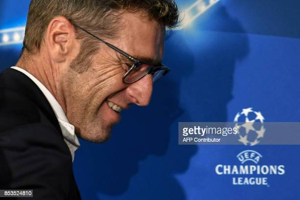 Spartak Moscow's coach from Italy Massimo Carrera attends a press conference at the Otkrytie Arena stadium in Moscow on September 25 2017 on the eve...