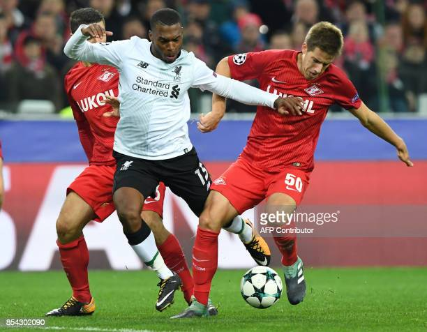 Spartak Moscow's defender from Italy Salvatore Bocchetti Liverpool's forward from England Daniel Sturridge and Spartak Moscow's midfielder from...