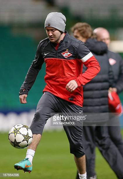 Spartak Moscow's Irish midfielder Aiden McGeady controls the ball during in a training session at Celtic Park in Glasgow Scotland on December 4 2012...