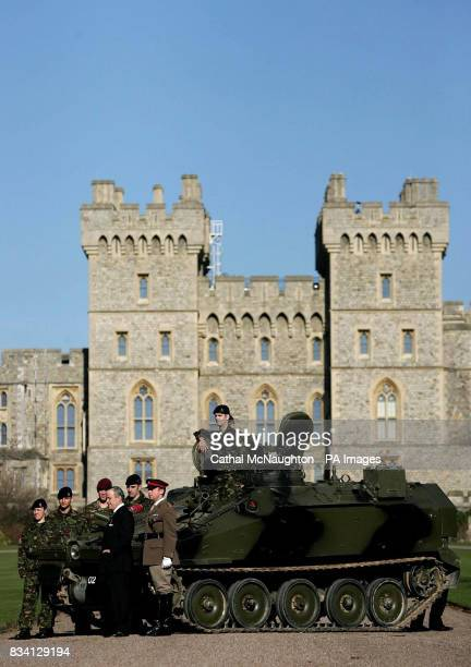 A Spartan armoured vehicle with full crew is pictured outside Windsor Castle promoting the Windsor Castle Royal Tattoo which will take place from the...