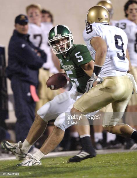 Spartan quarterback Drew Stanton during the game between the Michigan State Spartans and the Notre Dame Fighting Irish at Spartan Stadium in East...
