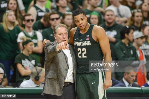 Spartans Head Coach Tom Izzo gives instruction to Spartans forward Miles Bridges during a Big Ten Conference college basketball game between Michigan...