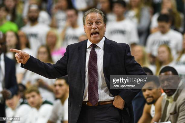 Spartans head coach Tom Izzo yells at his team during an exhibition college basketball game between Michigan State and Ferris State on October 26 at...