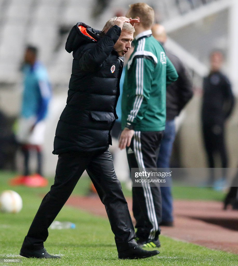Sparta's head coach Zdenek Scasny gestures to his players during the UEFA Europa League football match Cyprus' Apoel FC versus Czech Republic's AC...