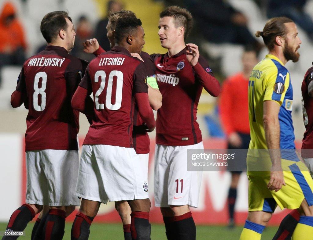 Sparta's Lukas Marecek celebrates with teammates after winning the UEFA Europa League football match Cyprus' Apoel FC versus Czech Republic's AC...