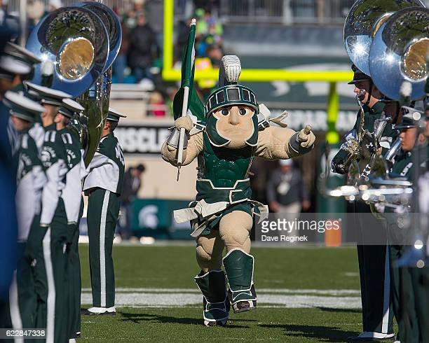 Sparty the Michigan State Spartans mascot gets the fans raved up before a college football game between the Michigan State Spartans and the Rutgers...