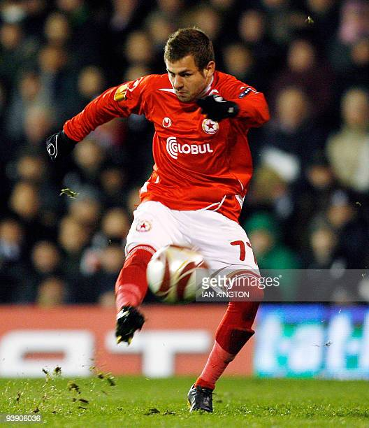 Spas Delev of CSKA Sofia shoots during a Europa League Group E match against Fulham during at Craven Cottage in London on December 3 2009 AFP...