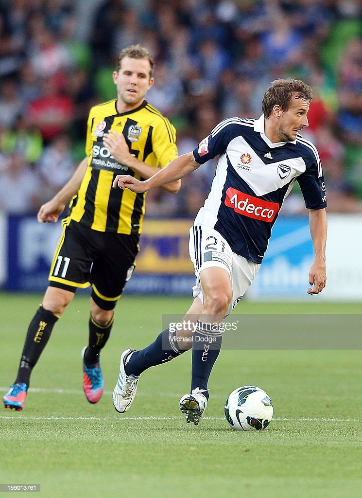 Spase Dilevski of the Melbourne Victory runs with the ball during the round 15 A-League match between the Melbourne Victory and Wellington Phoenix at AAMI Park on January 5, 2013 in Melbourne, Australia.