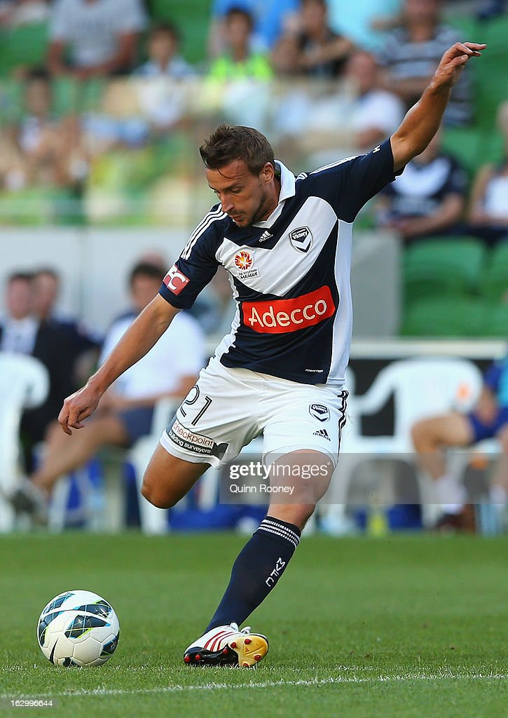Spase Dilevski of the Victory kicks during the round 23 A-League match between the Melbourne Victory and the Newcastle Jets at AAMI Park on March 3, 2013 in Melbourne, Australia.
