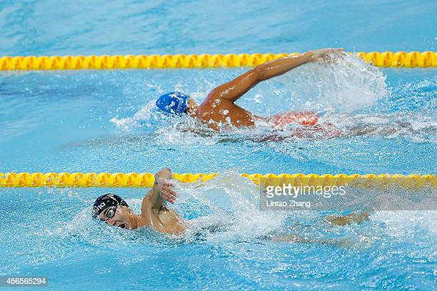 Spasov Sergey of Uzbekistan competes in Modern Pentathlon Men's Individual Swimming in day fourteen of the 2014 Asian Games at Dream Park Aquatics...