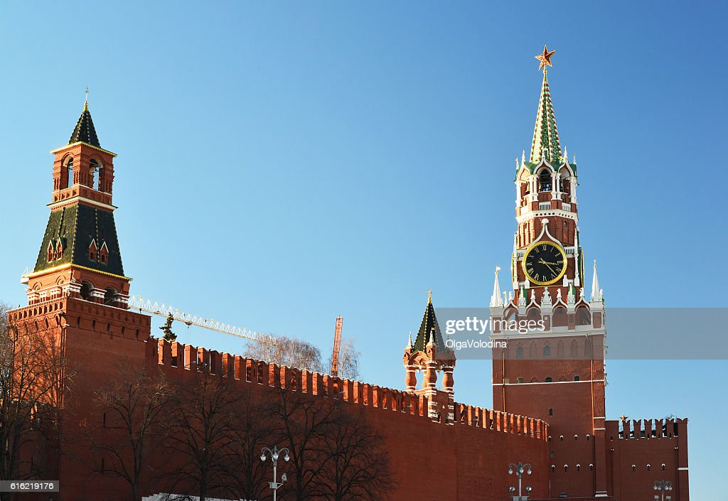 Spasskaya and Nabatnaya tower of Moscow Kremlin, Russia : Foto stock