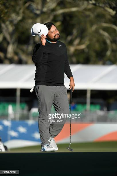 J Spaun acknowledges the gallery on the 18th hole during the final round of The RSM Classic at the Sea Island Resort Seaside Course on November 19...