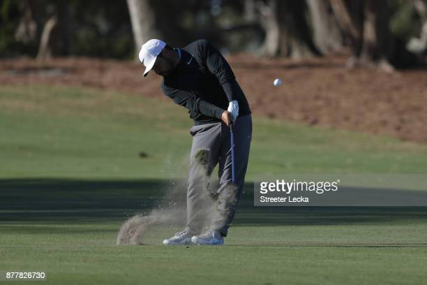 J Spaun of the United States plays a shot on the 15th hole during the final round of The RSM Classic at Sea Island Golf Club Seaside Course on...