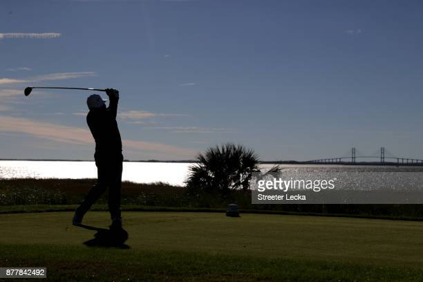 J Spaun of the United States plays his shot from the 14th tee during the final round of The RSM Classic at Sea Island Golf Club Seaside Course on...