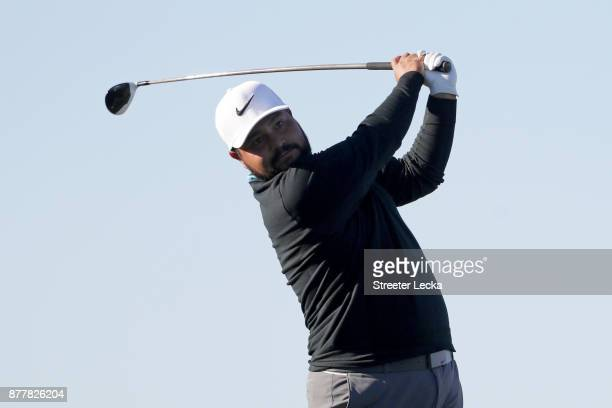 J Spaun of the United States plays his shot from the 16th tee during the final round of The RSM Classic at Sea Island Golf Club Seaside Course on...