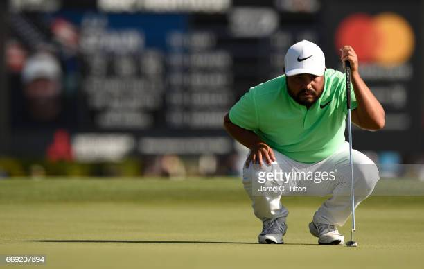 J Spaun reads the 18th green during the final round of the 2017 RBC Heritage at Harbour Town Golf Links on April 16 2017 in Hilton Head Island South...