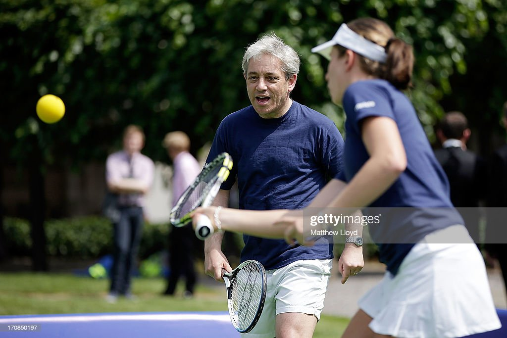 Speaker <a gi-track='captionPersonalityLinkClicked' href=/galleries/search?phrase=John+Bercow&family=editorial&specificpeople=2486681 ng-click='$event.stopPropagation()'>John Bercow</a> plays tennis with British Number 3 female <a gi-track='captionPersonalityLinkClicked' href=/galleries/search?phrase=Johanna+Konta&family=editorial&specificpeople=4482643 ng-click='$event.stopPropagation()'>Johanna Konta</a> at the LTA's #TennisIS event in the grounds of the Houses of Parliament on June 19, 2013 in London, England. The event is part of a programme of activity to promote tennis as a sport for all ages and abilities, at a time when it takes centre stage for the British public on the eve of The Championships, Wimbledon.