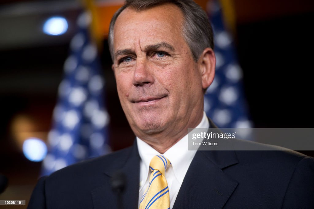 Speaker John Boehner, R-Ohio, conducts his weekly news conference in the Capitol Visitor Center.