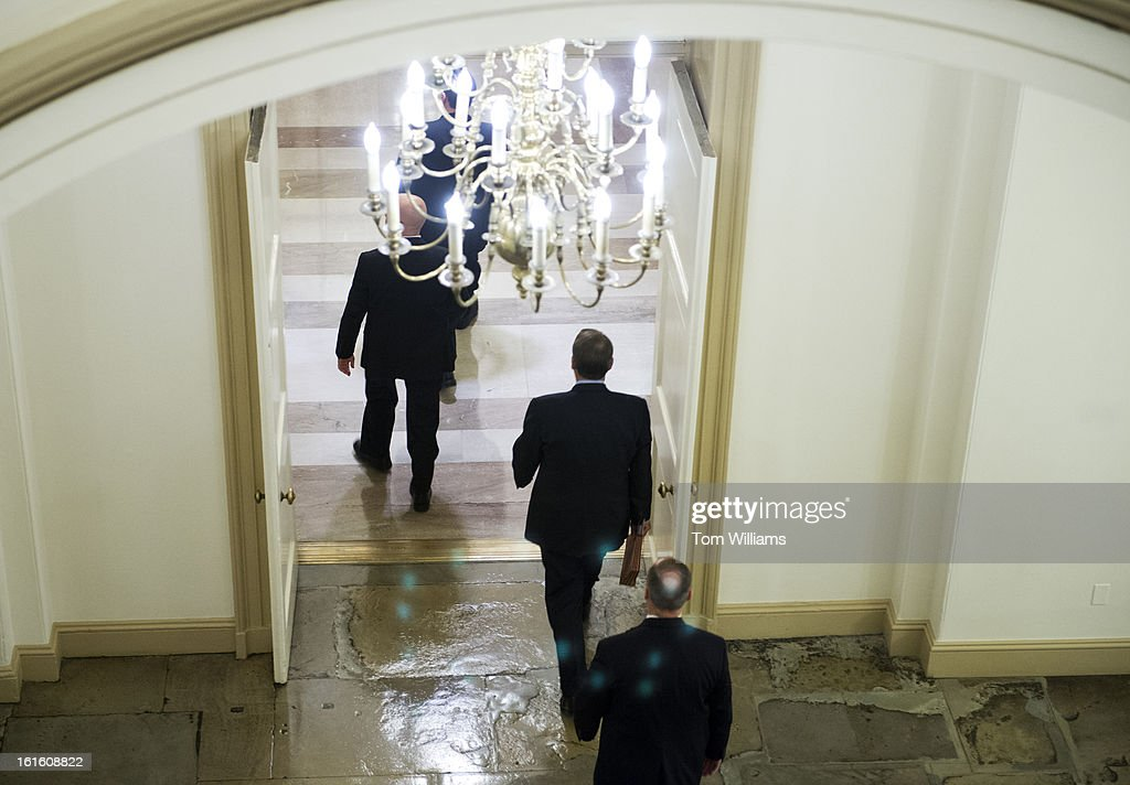 Speaker John Boehner, R-Ohio, leaves the Capitol after President Barack Obama delivered his State of the Union address to Congress in the House chamber.