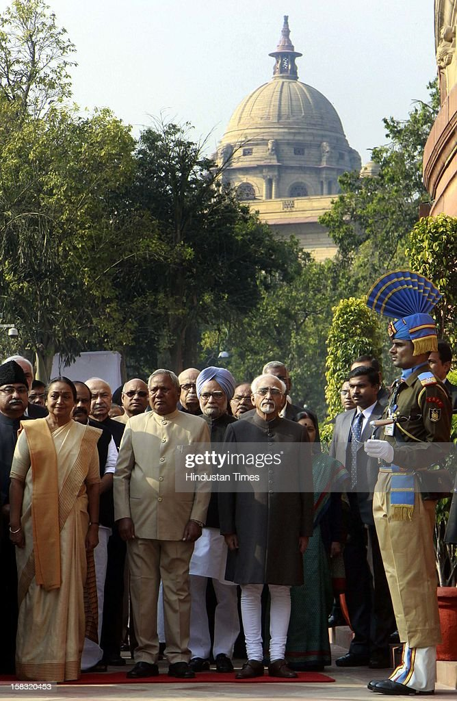 Speaker Lok Sabha Meira Kumar, Karia Munda Deputy Speaker, Lok Sabha, Prime Minister Manmohan Singh, Mohammad Hamid Ansari Vice President, before paying tributes to the martyrs of 2001 Parliament attack on its 11th anniversary, at Parliament House on December 13, 2012 in New Delhi, India.