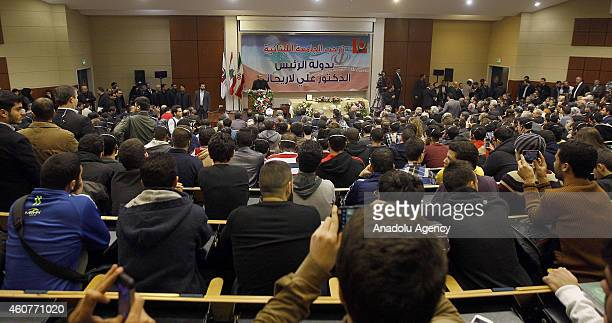 Speaker of Iran's parliament Ali Larijani delivers a speech at Lebanese University in Beirut on December 222014