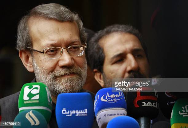 Speaker of Iran's parliament Ali Larijani gives a press conference as he visits Iraq's Shiite Muslim holy city of Najaf about 160 kilometres south of...