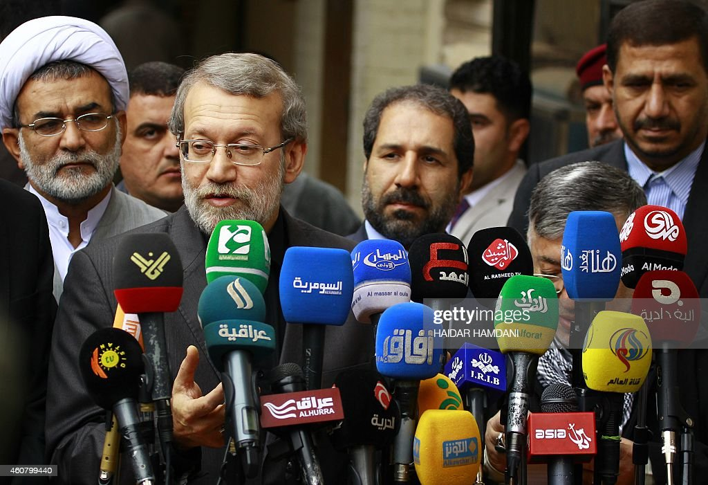 Speaker of Iran's parliament <a gi-track='captionPersonalityLinkClicked' href=/galleries/search?phrase=Ali+Larijani&family=editorial&specificpeople=572030 ng-click='$event.stopPropagation()'>Ali Larijani</a> (2L) gives a press conference as he visits Iraq's Shiite Muslim holy city of Najaf, about 160 kilometres south of Baghdad, on December 23, 2014. AFP PHOTO / HAIDAR HAMDANI