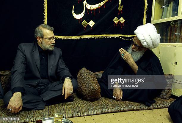 Speaker of Iran's parliament Ali Larijani meets with Grand Ayatollah Sheikh Bashir Hussain Najafi one of the five Grand Ayatollahs in Iraq during his...