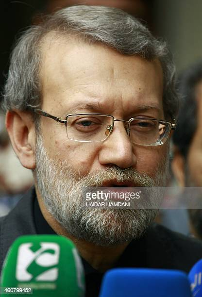 Speaker of Iran's parliament Ali Larijani visits Iraq's Shiite Muslim holy city of Najaf about 160 kilometres south of Baghdad on December 23 2014...