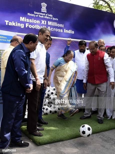 Speaker of Lok Sabha Sumitra Mahajan with Minister of Youth Affairs and Sports Vijay Goel International footballer and member of Parliament from...
