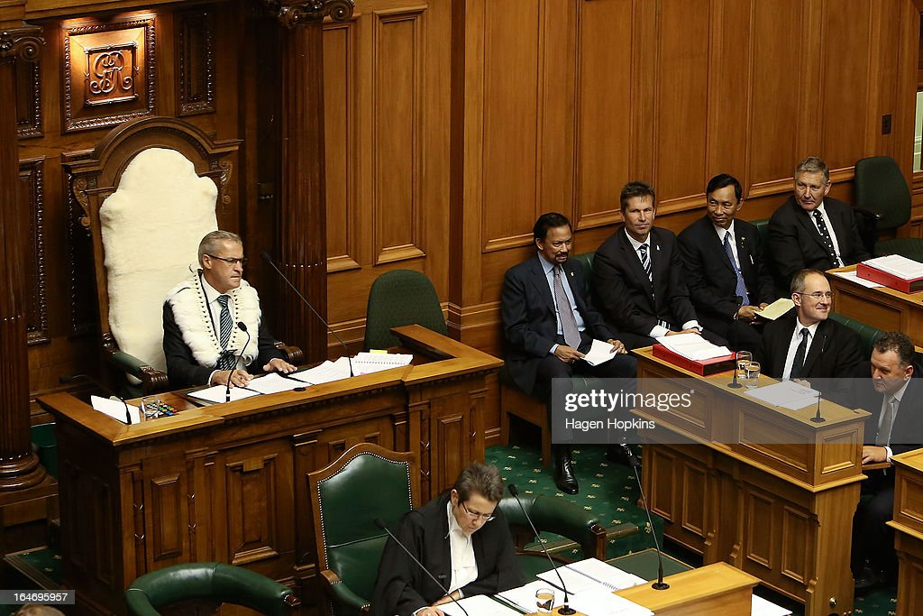 Speaker of the House, David Carter, looks on while Sultan of Brunei Darussalam, His Majesty Hassanal Bolkiah observes question time with MP Chris Tremain in the House of Representatives during a visit to Parliament on March 27, 2013 in Wellington, New Zealand. The Sultan of Brunei is being hosted in New Zealand for an official visit over four days to strengthen ties between the two countries ahead of the Association of South East Asian Nations which is being hosted by Brunei later this year.