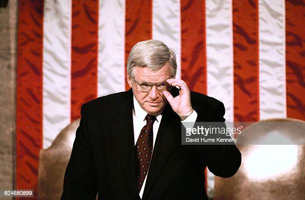 Speaker of the House Dennis Hastert next to his seat in the Congressional Chambers shortly before President Bill Clinton delivers his State of the...
