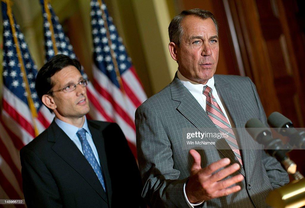 S Speaker of the House John Boehner and House Majoirty Leader Eric Cantor respond to US President Barack Obama's remarks on the US economy June 8...
