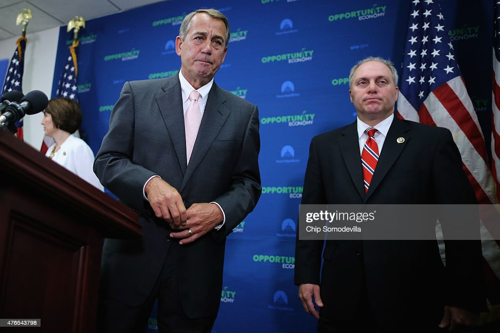 Speaker of the House <a gi-track='captionPersonalityLinkClicked' href=/galleries/search?phrase=John+Boehner&family=editorial&specificpeople=274752 ng-click='$event.stopPropagation()'>John Boehner</a> (R-OH) (L) and House Majority Whip <a gi-track='captionPersonalityLinkClicked' href=/galleries/search?phrase=Steve+Scalise&family=editorial&specificpeople=5482687 ng-click='$event.stopPropagation()'>Steve Scalise</a> (R-LA) leave after a news conference following the weekly House GOP conference meeting at the U.S. Capitol June 10, 2015 in Washington, DC. Republicans announced that the House will vote Friday to approve the Trans-Pacific Partnership and give President Barack Obama fast-track authority to negotiate a large-scale trade deal.