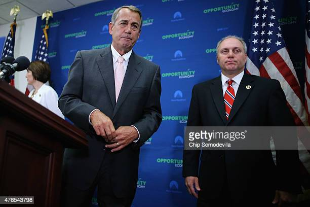 Speaker of the House John Boehner and House Majority Whip Steve Scalise leave after a news conference following the weekly House GOP conference...