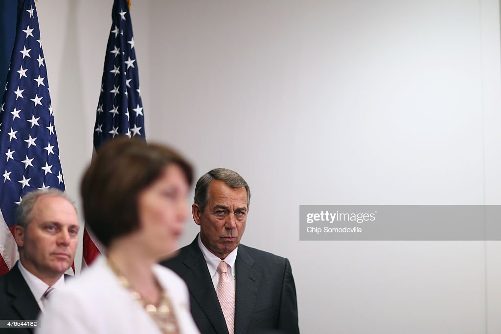 Speaker of the House John Boehner (R-OH) (R) and House Majority Whip <a gi-track='captionPersonalityLinkClicked' href=/galleries/search?phrase=Steve+Scalise&family=editorial&specificpeople=5482687 ng-click='$event.stopPropagation()'>Steve Scalise</a> (R-LA) (L) listen to Rep. Cathy McMorris Rogers (R-WA) during a news conference following the weekly House GOP conference meeting at the U.S. Capitol June 10, 2015 in Washington, DC. Republicans announced that the House will vote Friday to approve the Trans-Pacific Partnership and give President Barack Obama fast-track authority to negotiate a large-scale trade deal.