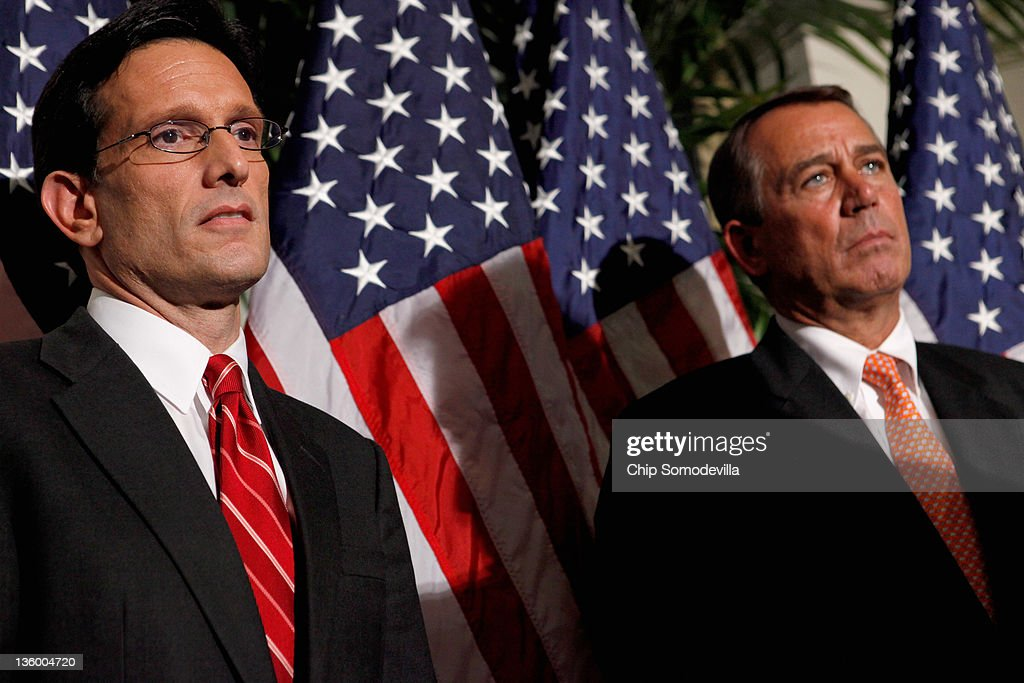 Speaker of the House <a gi-track='captionPersonalityLinkClicked' href=/galleries/search?phrase=John+Boehner&family=editorial&specificpeople=274752 ng-click='$event.stopPropagation()'>John Boehner</a> (R-OH) (R) and Majority Leader <a gi-track='captionPersonalityLinkClicked' href=/galleries/search?phrase=Eric+Cantor&family=editorial&specificpeople=653711 ng-click='$event.stopPropagation()'>Eric Cantor</a> (R-VA) hold a brief news conference after a House GOP caucus meeting at the U.S. Capitol December 19, 2011 in Washington, DC. Boehner said he expects the House to reject a short-term plan to extend the tax cuts for another two months that passe the Senate last week.