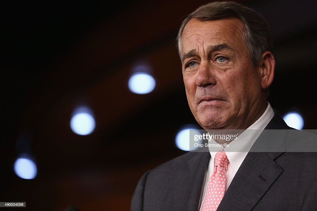 Speaker of the House <a gi-track='captionPersonalityLinkClicked' href=/galleries/search?phrase=John+Boehner&family=editorial&specificpeople=274752 ng-click='$event.stopPropagation()'>John Boehner</a> (R-OH) announces that he is retiring from the House and stepping down as Speaker at the end of October during a news conference at the U.S. Capitol September 25, 2015 in Washington, DC. After 25 years in Congress and five years as Speaker, Boehner said he decided this morning to step down after contemplation and prayer.
