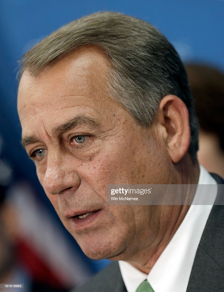 U.S. Speaker of the House <a gi-track='captionPersonalityLinkClicked' href=/galleries/search?phrase=John+Boehner&family=editorial&specificpeople=274752 ng-click='$event.stopPropagation()'>John Boehner</a> answers questions at a press conference at the U.S. Capitol September 26, 2013 in Washington, DC. Boehner signaled that he is urging Republican colleagues to remain flexible in negotiations to avert a governmental shutdown when federal funding runs out next week.