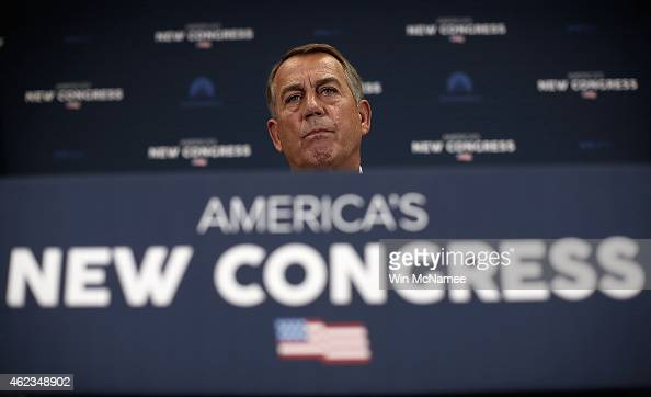 S Speaker of the House John Boehner answers questions at a press conference following the weekly House Republican caucus meeting January 27 2015 in...