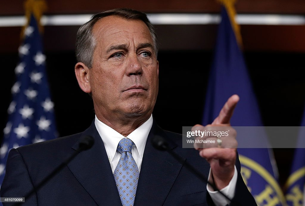 Speaker of the House <a gi-track='captionPersonalityLinkClicked' href=/galleries/search?phrase=John+Boehner&family=editorial&specificpeople=274752 ng-click='$event.stopPropagation()'>John Boehner</a> (R-OH) answers questions during a press conference at the U.S. Capitol November 21, 2013 in Washington, DC. During his remarks, Boehner said that Rep. Trey Radel's (R-FL) guilty plea on charges of possession of cocaine were 'between Rep. Radel, his family, and his constituents.'