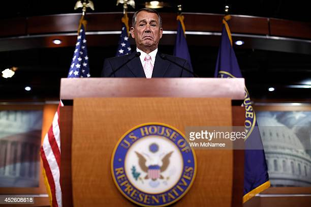 S Speaker of the House John Boehner answers questions during a press conference at the US Capitol July 24 2014 in Washington DC Boehner answered...