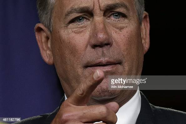 Speaker of the House John Boehner answers questions during his weekly press conference at the US Capitol January 8 2015 in Washington DC Boehner...