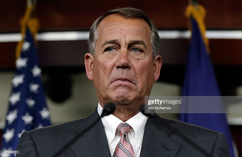 U.S. Speaker of the House <a gi-track='captionPersonalityLinkClicked' href=/galleries/search?phrase=John+Boehner&family=editorial&specificpeople=274752 ng-click='$event.stopPropagation()'>John Boehner</a> (R-OH) answers questions during his weekly press conference January 9, 2014 in Washington, DC. During his remarks Boehner said the U.S. should provide equipment and additional aid to the Iraqi government in its battle against militants linked to Al-Qaida.