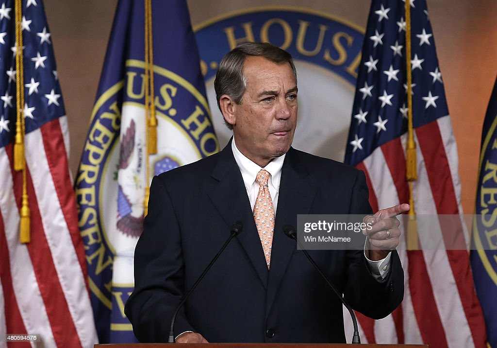 U.S. Speaker of the House <a gi-track='captionPersonalityLinkClicked' href=/galleries/search?phrase=John+Boehner&family=editorial&specificpeople=274752 ng-click='$event.stopPropagation()'>John Boehner</a> (R-OH) answers questions during his weekly press conference at the U.S. Capitol July 9, 2015 in Washington, DC. Boehner addressed multiple topics including a potential nuclear deal with Iran, the recent controversial comments by Republican presidential candidate Donald Trump, and the issue of the Confederate flag during his remarks.